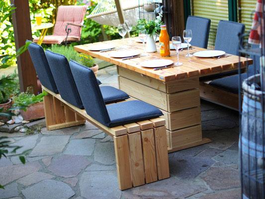 Gartenmöbel Set 2 Holz, Tischgröße: 180 x 80 cm, Oberfläche: Natur Geölt, mit Sitzschalen / Rückenlehne