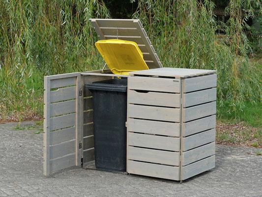 2er Mülltonnenbox / Mülltonnenverkleidung 240 L Holz, Oberfläche: Transparent Grau