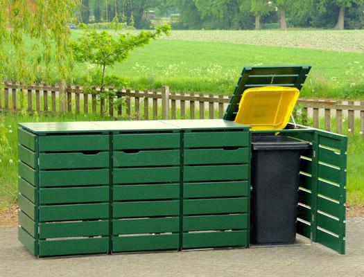 4er Mülltonnenbox / Mülltonnenverkleidung Holz, Oberfläche: Deckend Geölt Tannengrün