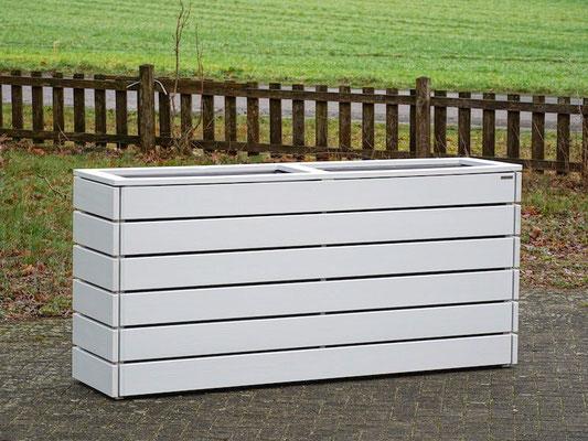 Pflanzkasten / Pflanzkübel Holz Lang L, Oberfläche: Lichtgrau