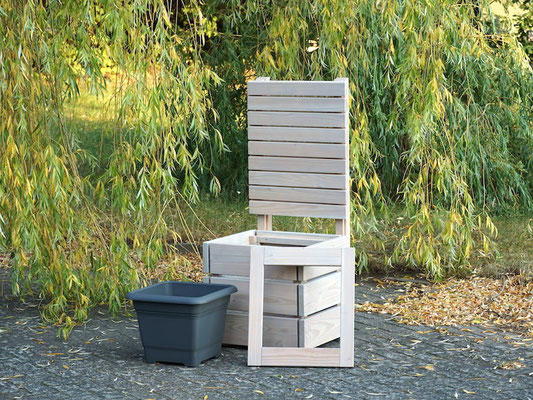 Pflanzkübel Holz M mit Sichtschutz, Länge: 52 cm, Höhe: 120 cm, Oberfläche: Transparent Grau