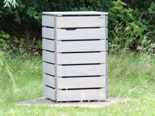 1er Mülltonnenbox aus Holz, für 120 L & 240 L Tonne, Farbe: Transparen Geölt Grau