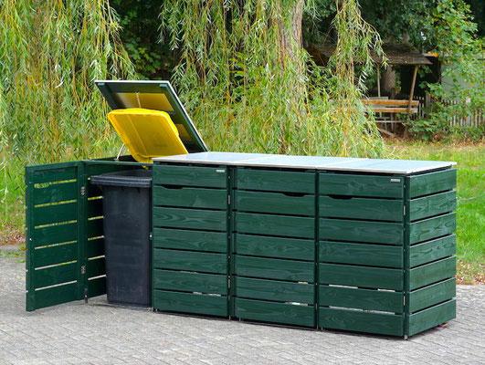 4er Mülltonnenbox Edelstahl / Holz - Deckel, Oberfläche: Tannengrün