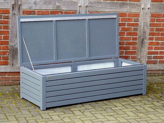 Auflagenbox / Kissenbox Holz nach Maß, Oberfläche: Steingrau / Basaltgrau RAL 7012
