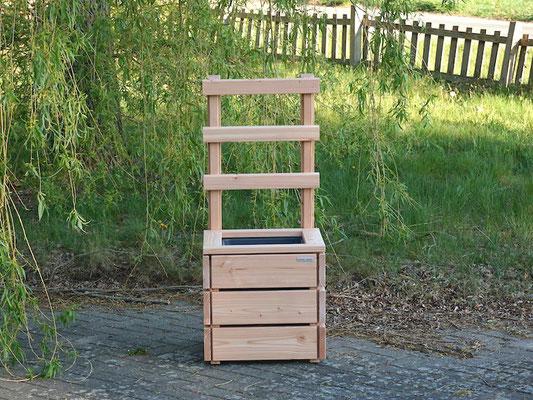 Pflanzkübel Holz M mit Rankgitter / Spalier, Maße: 52 x 51 x 120 cm, Oberfläche: Natur