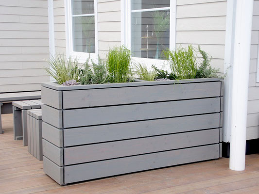Pflanzkasten Holz Lang M, Oberfläche: Transparent Grau