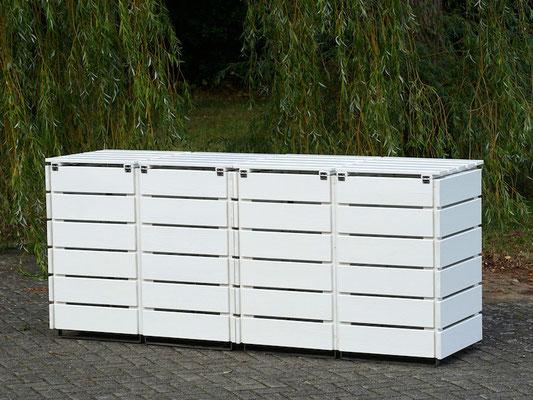 4er Mülltonnenbox / Mülltonnenverkleidung Holz 120 L, Oberfläche: Weiß (RAL 9016)