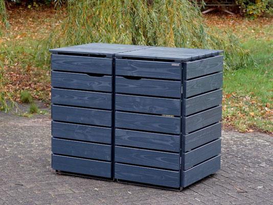 2er Mülltonnenbox / Mülltonnenverkleidung Holz 240 L, Oberfläche: Deckend Geölt Anthrazit Grau