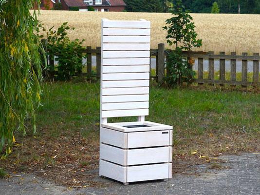 Pflanzsäule Holz M mit Sichtschutz, Länge: 52 cm, Höhe: 150 cm, Oberfläche: Transparent Weiß