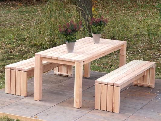 Gartenmöbel Holz Set 3, Douglasie Natur