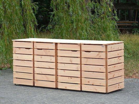 4er Mülltonnenbox / Mülltonnenverkleidung Holz 240 L, Oberfläche: Natur