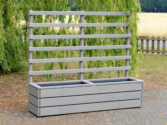 Pflanzkasten Holz Lang L mit Rankgitter / Spalier, Maße: 212 x 55 x 180 cm, Oberfläche: Transparent Grau
