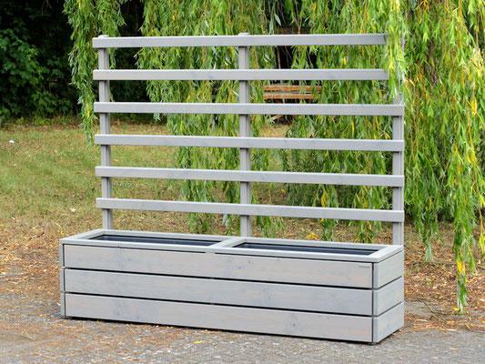 Pflanzkasten Holz mit Rankgitter / Spalier, Länge: 212 cm, Oberfläche: Transparent Geölt Grau