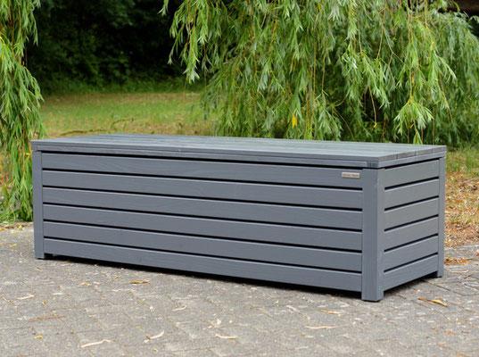 Truhenbank / Sitzbank Holz L, Oberfläche: Steingrau, atmungsaktiv & wasserdicht