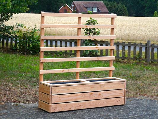 Pflanzkasten Holz Lang M mit Rankgitter / Spalier, Maße: 172 x 48 x 180 cm, Oberfläche: Natur