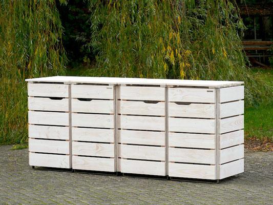 4er Mülltonnenbox / Mülltonnenverkleidung Holz 120 L, Oberfläche: Transparent Weiß