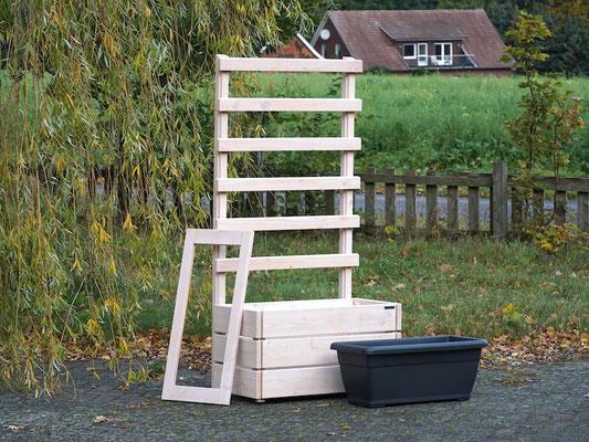 Pflanzkasten Holz M mit Rankgitter / Spalier, Maße: 92 x 48 x 180 cm, Oberfläche: Transparent Weiß