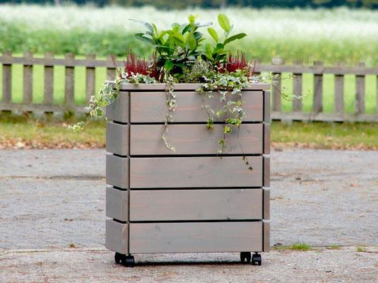 Pflanzkasten / Pflanzkübel Holz S, Oberfläche: Transparent Grau