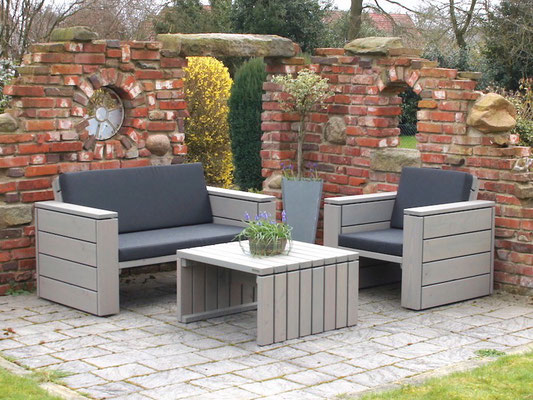 Loungemöbel Holz Set 1, Oberfläche: Transparent Grau