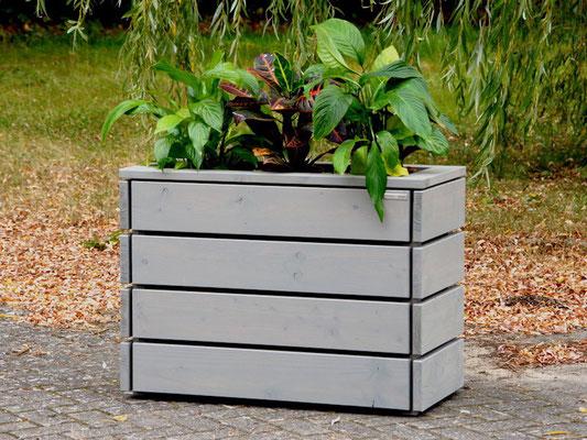 Pflanzkasten / Pflanzkübel Holz M, Oberfläche: Transparent Grau