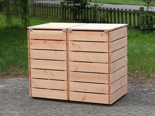 Rückseite 2er Mülltonnenbox / Mülltonnenverkleidung 240 L Holz, Oberfläche: Natur