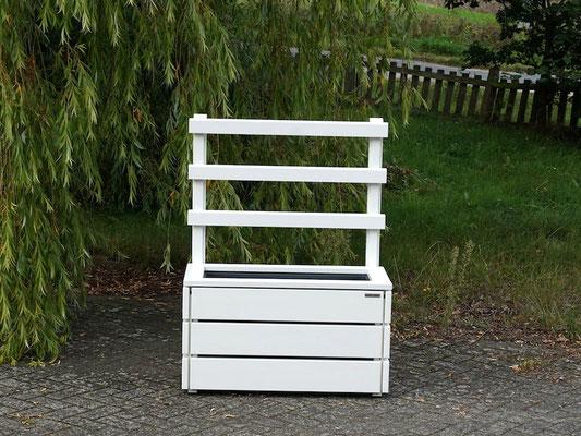 Pflanzkasten Holz M mit Rankgitter / Spalier, Maße: 92 x 48 x 120 cm, Oberfläche: Weiß