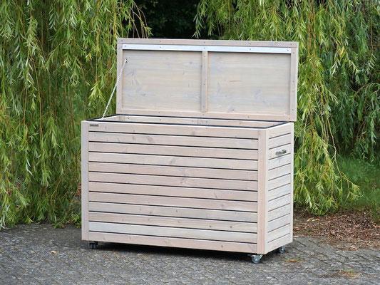 Auflagenbox / Kissenbox Holz nach Maß, Oberfläche: Transparent Grau, atmungsaktiv & wasserdicht