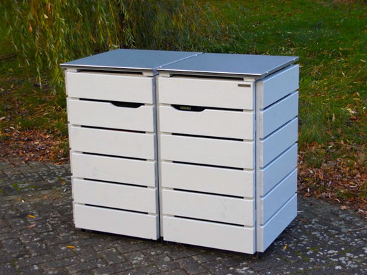 2er Mülltonnenbox Edelstahl / Holz - Deckel, Oberfläche: Lichtgrau (RAL 7035)