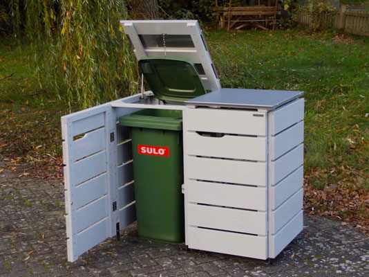 2er Mülltonnenbox Edelstahl / Holz - Deckel, Oberfläche: Lichtgrau
