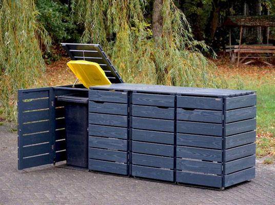 4er Mülltonnenbox / Mülltonnenverkleidung Holz 240 L, Oberfläche: Anthrazit (RAL 7016)