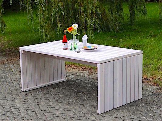 Gartentisch 1, Größe: 180 x 100 cm, Oberfläche: Transparent Weiß
