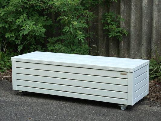 Truhenbank / Sitzbank Holz nach Maß, Oberfläche: Lichtgrau