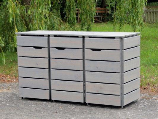 3er Mülltonnenbox / Mülltonnenverkleidung Holz, Oberfläche: Transparent Geölt Grau