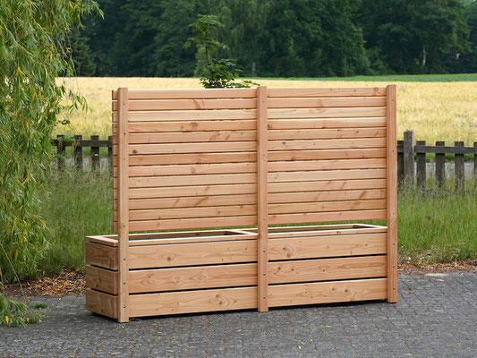 Rückseite Pflanzkasten Holz Lang mit Sichtschutz, Länge: 212 cm, Höhe: 150 cm, Oberfläche: Natur Geölt