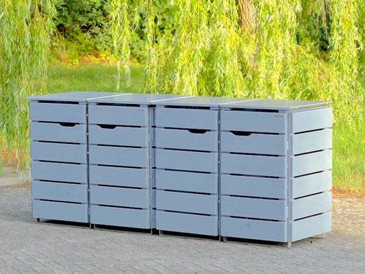 4er Mülltonnenbox Edelstahl / Holz - Deckel, Sonderfarbton nach RAL: Telegrau 1