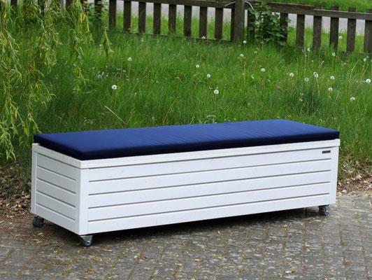 Truhenbank / Sitzbank Holz L, Oberfläche: Weiß, atmungsaktiv & wasserdicht