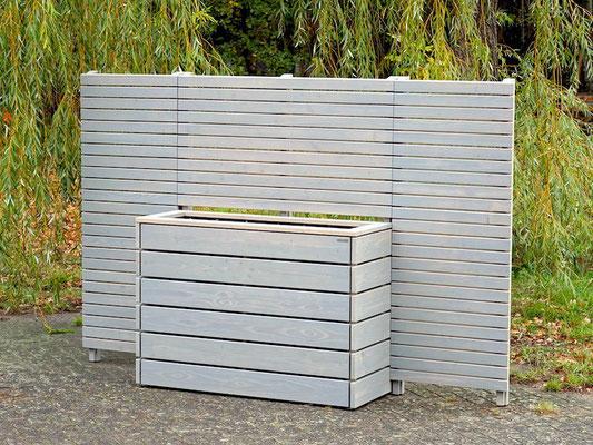 Sichtschutz mit Pflanzkasten nach Maß, Gesamtlänge: 280 cm, Oberfläche: Transparent Grau