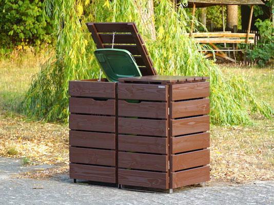 2er Mülltonnenbox / Mülltonnenverkleidung Holz, Oberfläche: Dunkelbraun (RAL 8017)
