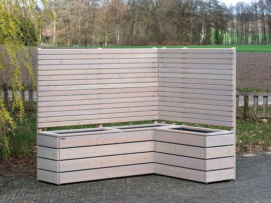 Pflanzkasten Holz Ecke mit Sichtschutz, Oberfläche: Transparent Grau - Höhe: 180 cm