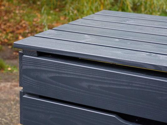 4er Mülltonnenbox / Mülltonnenverkleidung Holz 240 L , Oberfläche: Deckend Geölt Anthrazit Grau