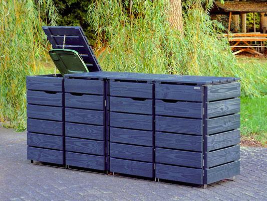 4er Mülltonnenbox / Mülltonnenverkleidung Holz 120 L , Oberfläche: Deckend Geölt Anthrazit Grau