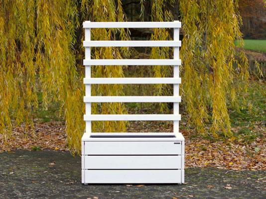 Pflanzkasten Holz mit Rankgitter / Spalier, Länge: 112 cm, Oberfläche: Deckend Geölt Weiß