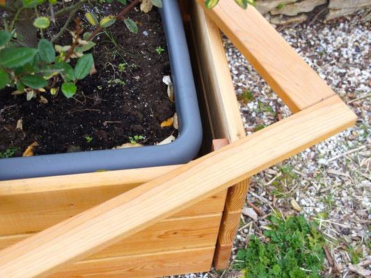Pflanzsäule / Pflanzkübel Holz L, Oberfläche: Natur Geölt