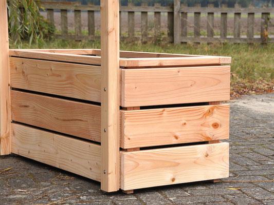 Pflanzkasten Holz Lang L mit Rankgitter / Spalier, Maße: 212 x 55 x 180 cm, Oberfläche: Douglasie Natur