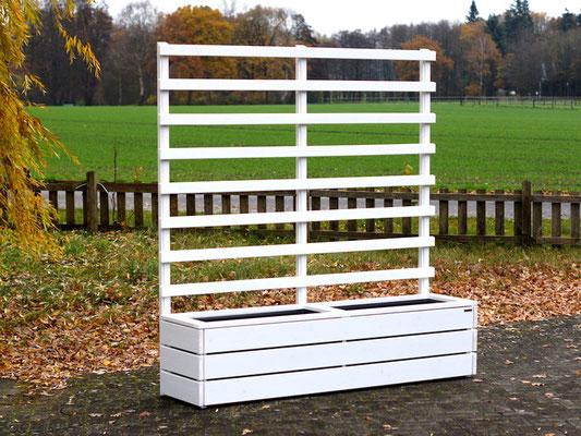 Pflanzkasten Holz mit Rankgitter / Spalier, Länge: 212 cm, Höhe: 200 cm, Oberfläche: Deckend Geölt Weiß
