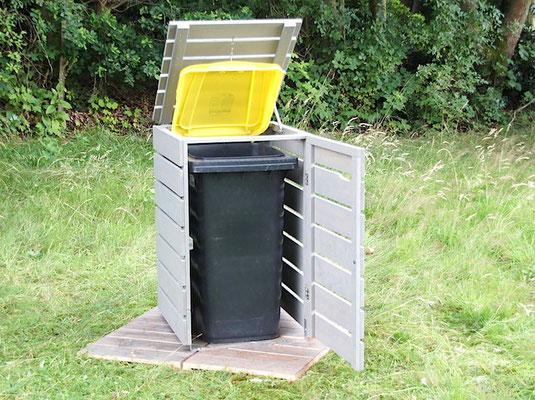 1er Mülltonnenbox / Mülltonnenverkleidung Holz, Oberfläche: Transparent Grau
