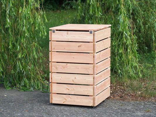 1er Mülltonnenbox / Mülltonnenverkleidung Holz 240 L, Oberfläche: Natur