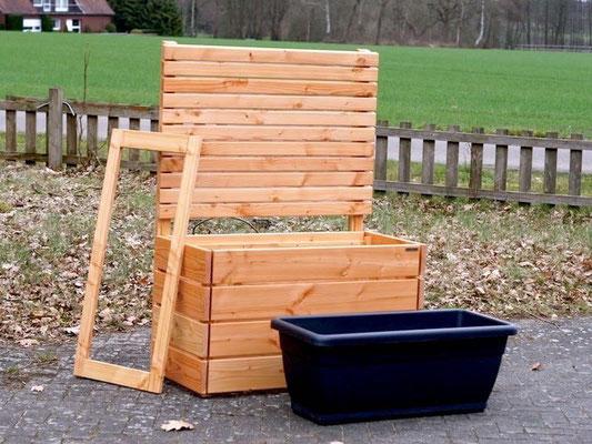 Pflanzkasten Holz mit Sichtschutz, Länge: 112 cm, Höhe: 180 cm, Oberfläche: Natur Geölt
