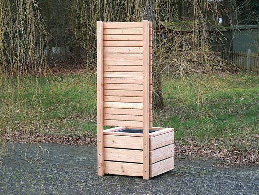 Pflanzkübel Holz L mit Sichtschutz, Länge: 70 cm, Höhe: 180 cm, Oberfläche: Natur