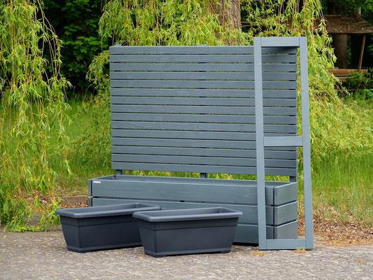 Pflanzkasten Holz Lang M mit Sichtschutz, Länge: 172 cm, Höhe: 150 cm, Oberfläche: Steingrau